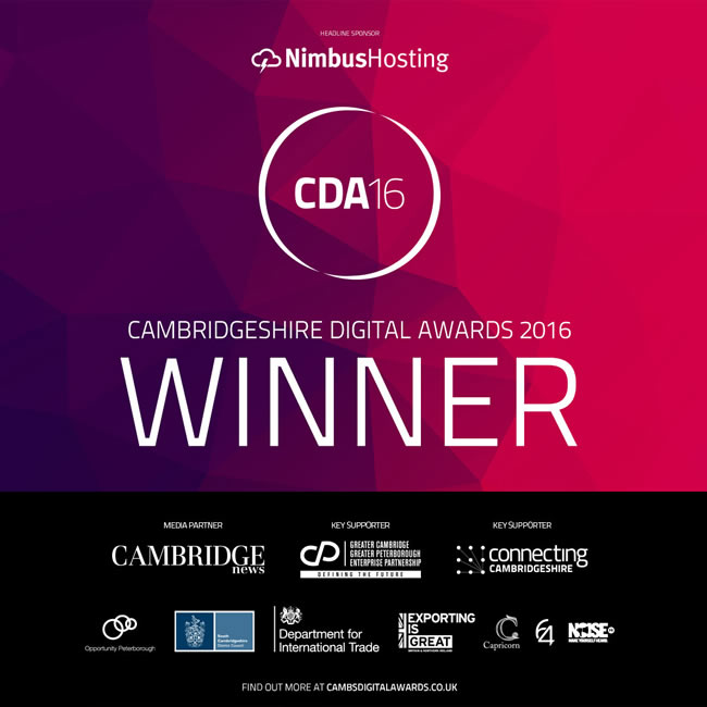 Winner Cambridgeshire Digital Awards