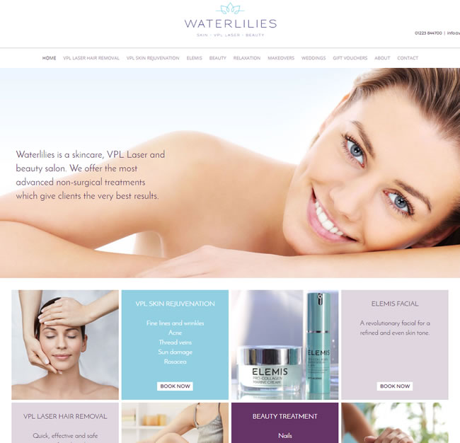 Waterlilies website after makeover